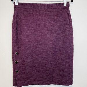 Ann Taylor Curvy Fit Purple Button Pencil Skirt